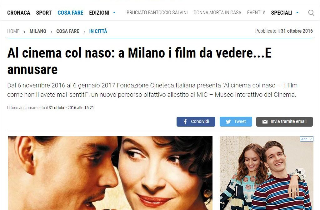 Al cinema col naso: a Milano i film da vedere… E annusare